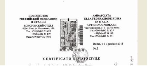 certificato di stato civile ambasciata russa